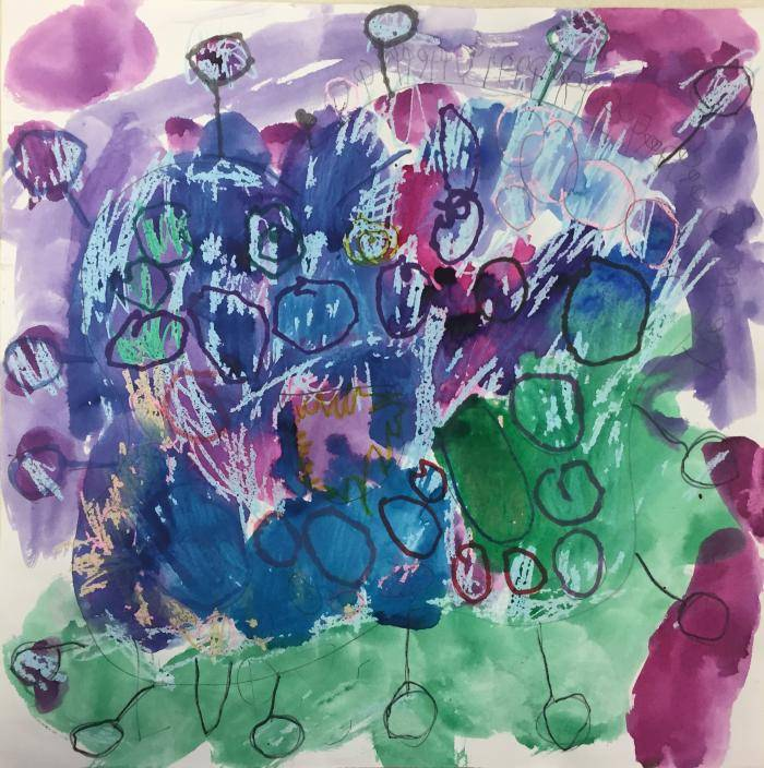 Watercolor painting by kindergartner, Evangelina F. from Coit Creative Arts Academy in Grand Rapids depicting her interpretation of a germ.